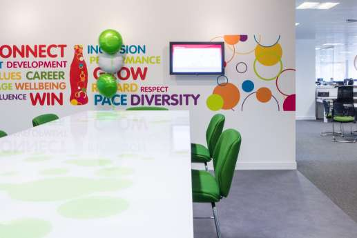 Colourful relaxed meeting area