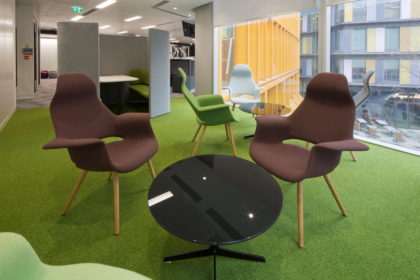 Green carpet in staff seating area