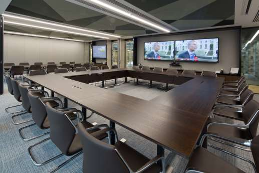 Televisions in large square meeting room