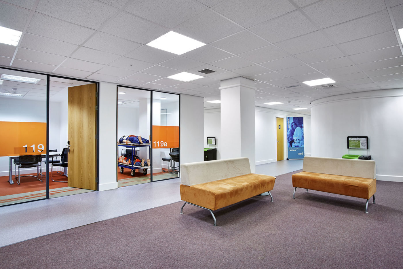 Meeting rooms with orange highlights in Coventry