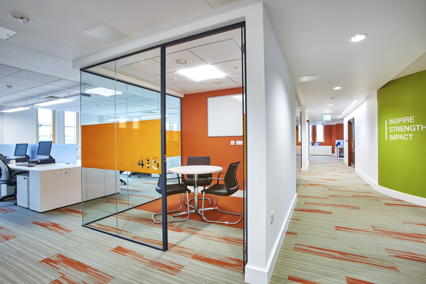 Open plan office with meeting pod