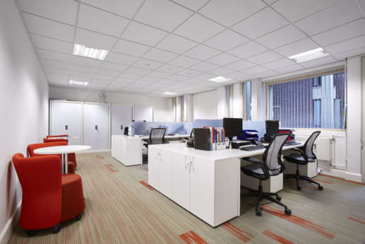 Modern workstations in Coventry office
