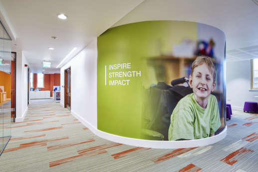 Curved wall art in modern office fit out