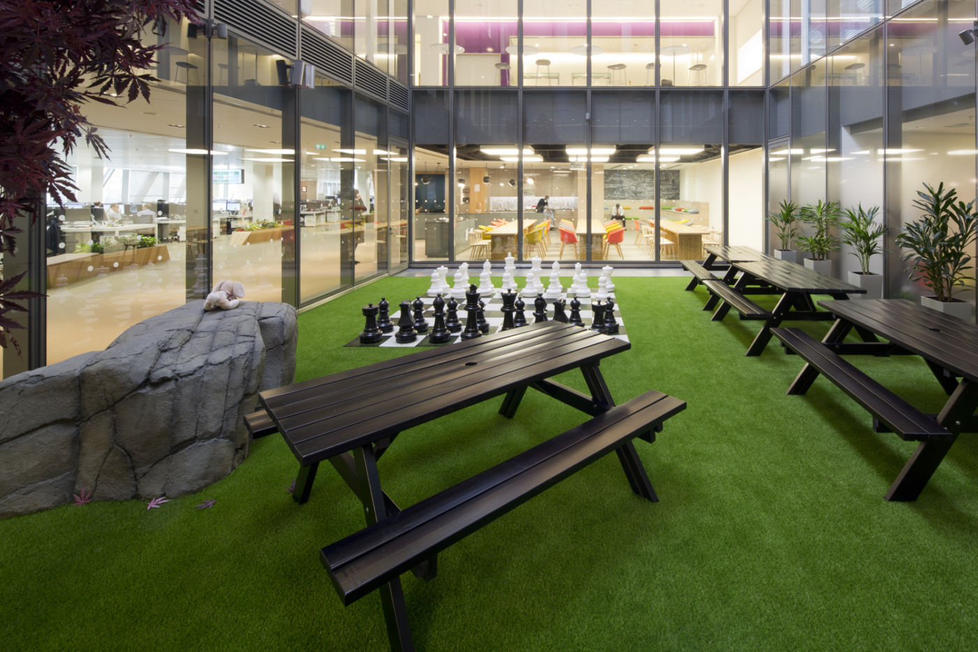 Chess set in office courtyard
