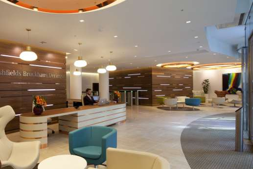 London law office reception area