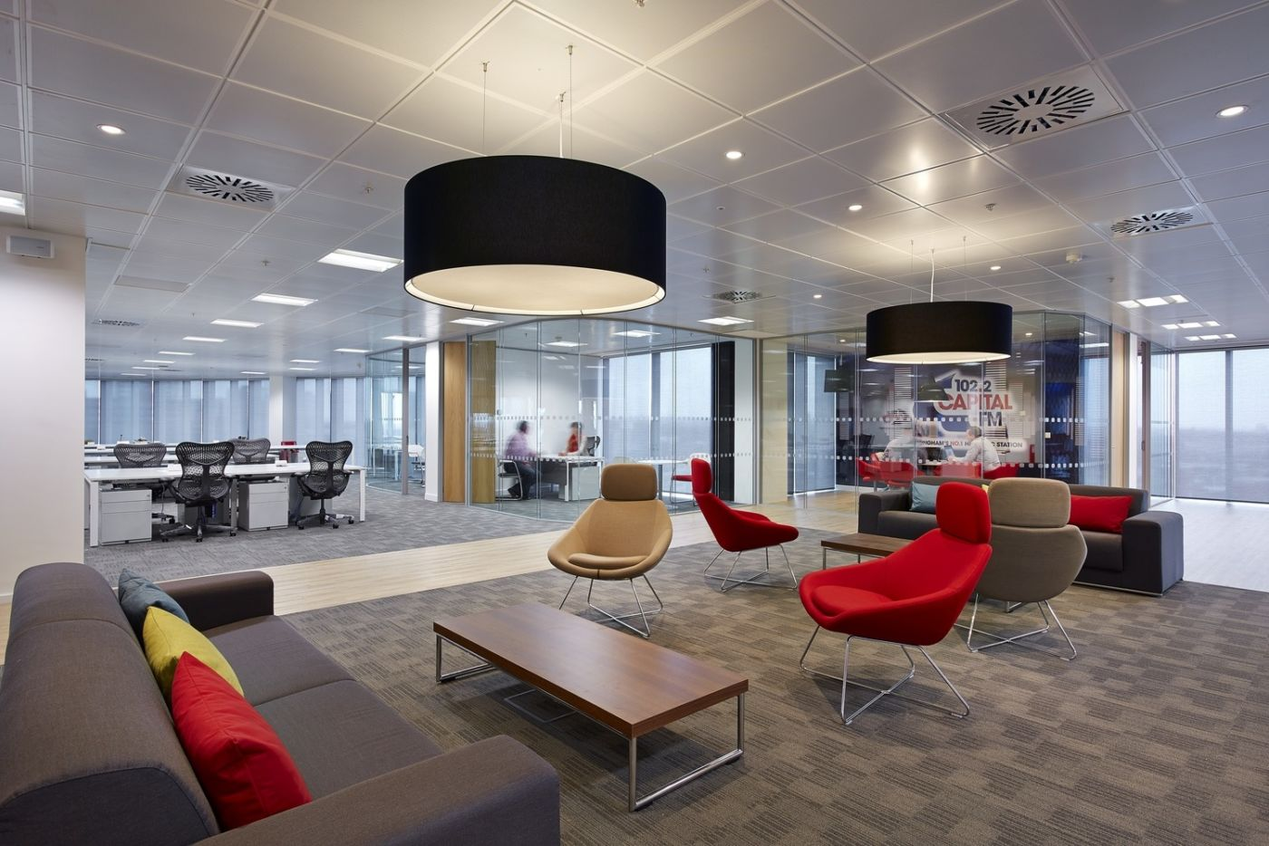 Open plan view of office seating areas