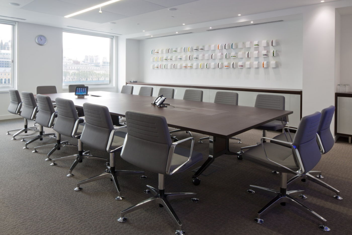 Large grey seated meeting room