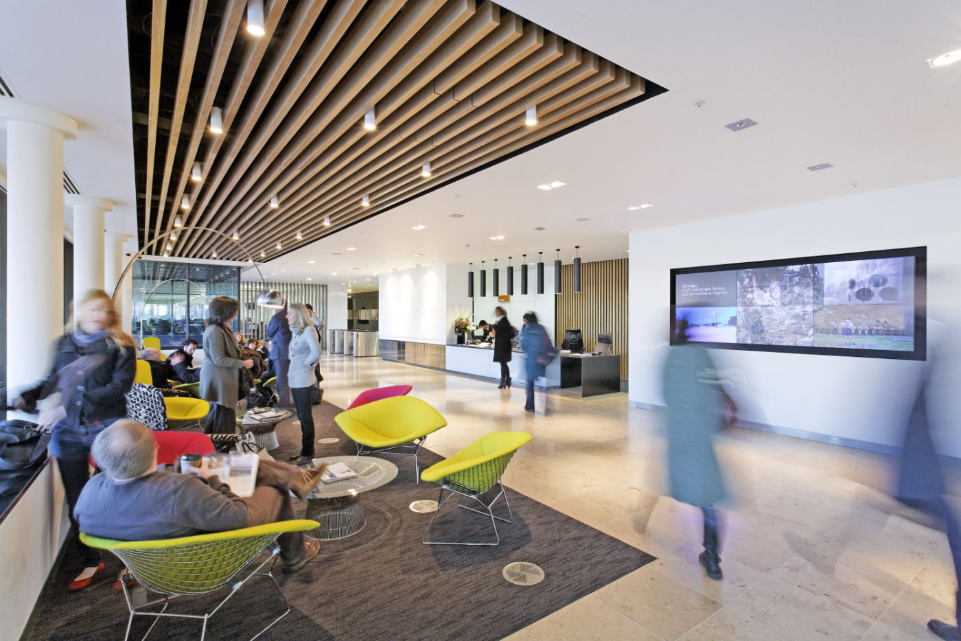 Busy office reception area
