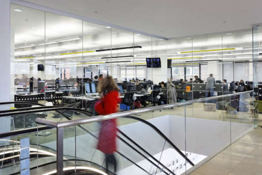 Office fit out with workstations and escalators