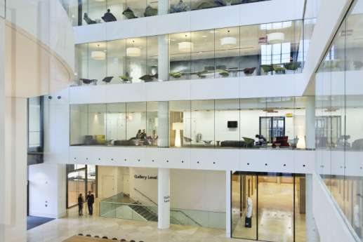 View from mezzanine into modern office interior