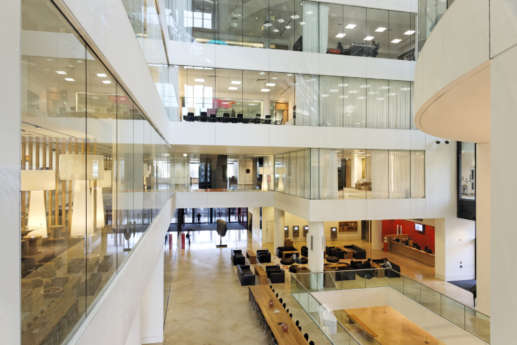View from atrium into a modern office interior