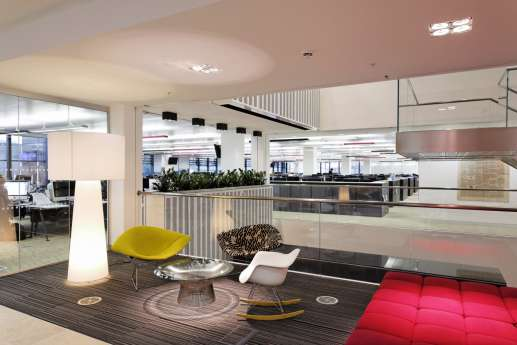 Modern lighting and furnishing in an open office fit out