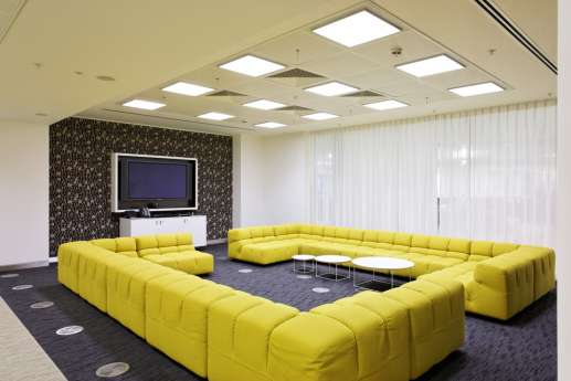 Square sofa in staff breakout area