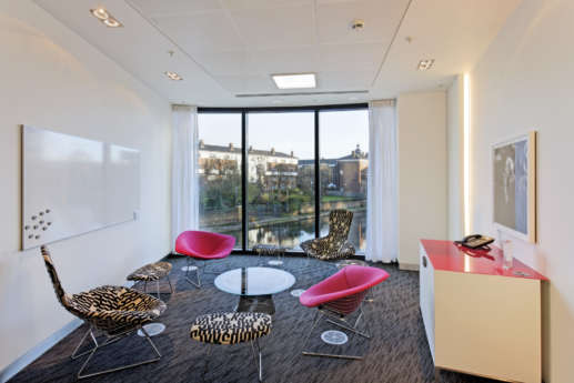 Modern office furniture in stylish meeting room