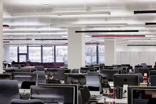 Open plan workstations in modern office fit out