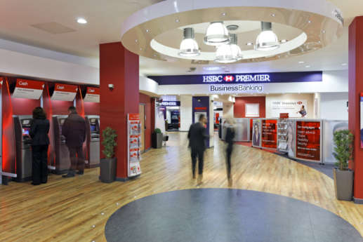 Interior of HSBC bank branch fit out