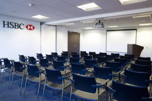 Presentation room in retail bank fit out