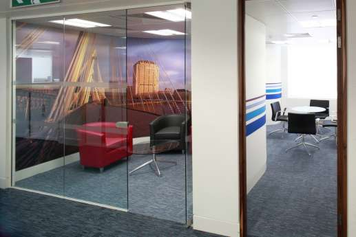 Meeting room with bridge wall art
