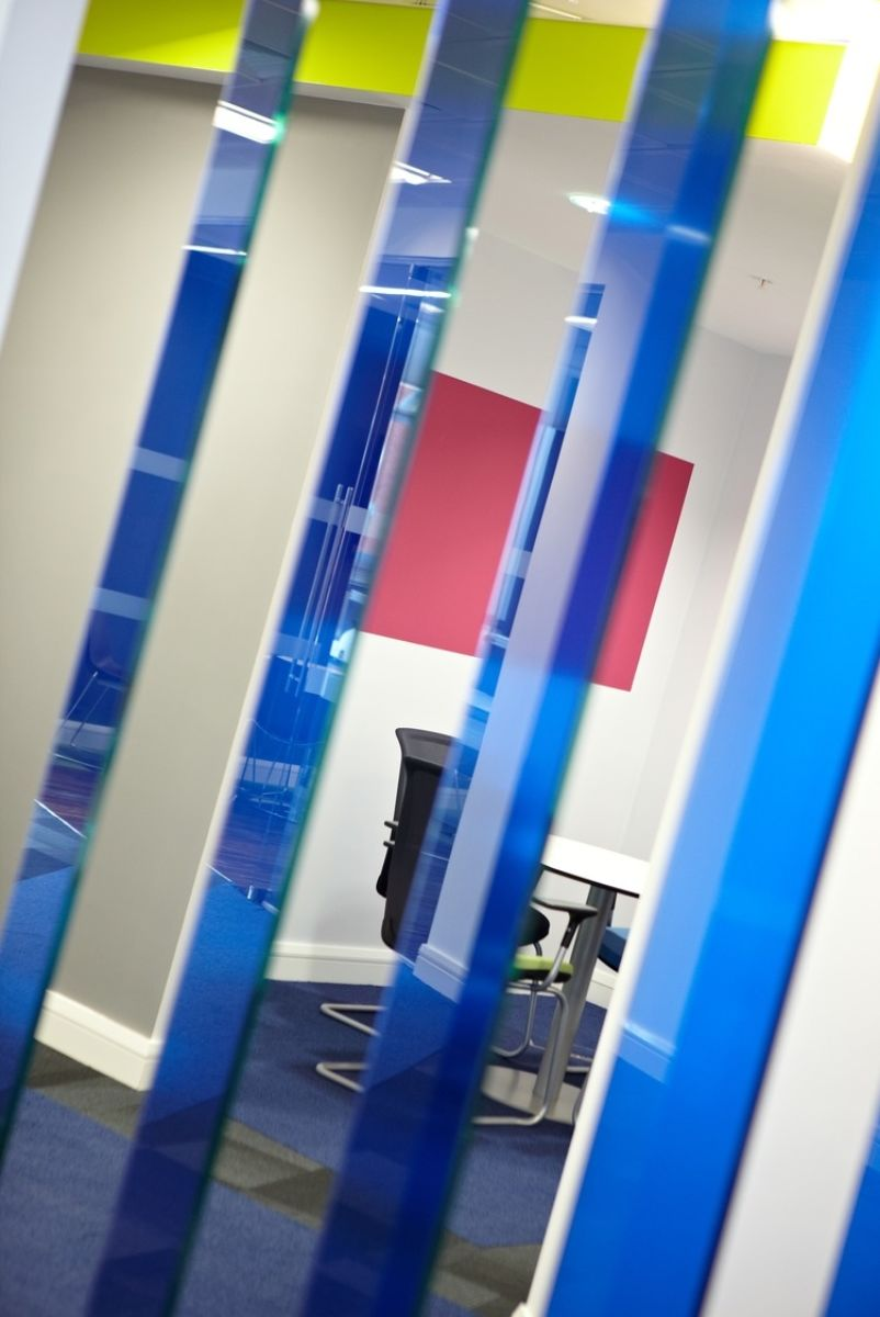 Meeting room with blue glass dividers