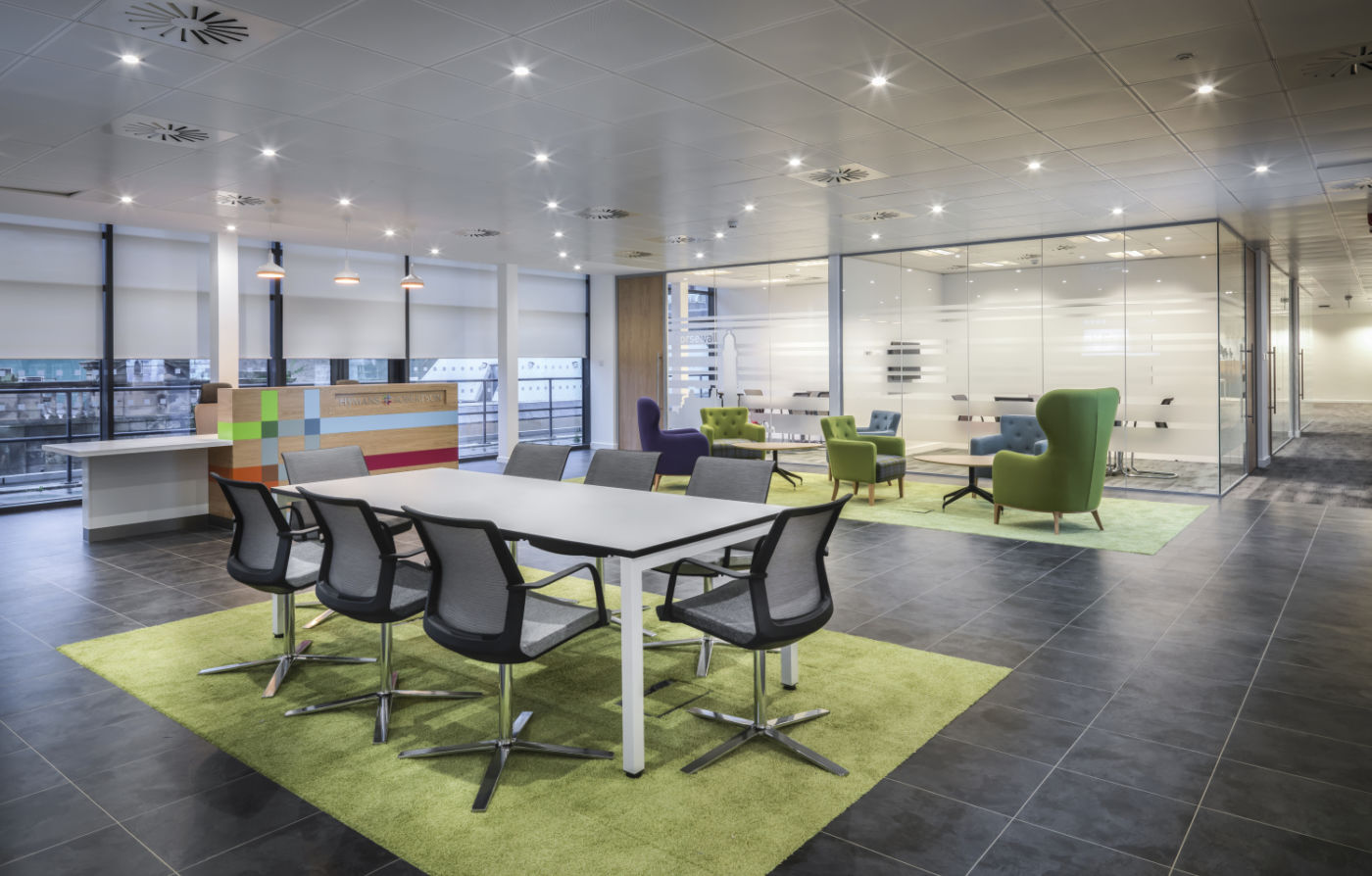 Informal meeting area with colourful fit out