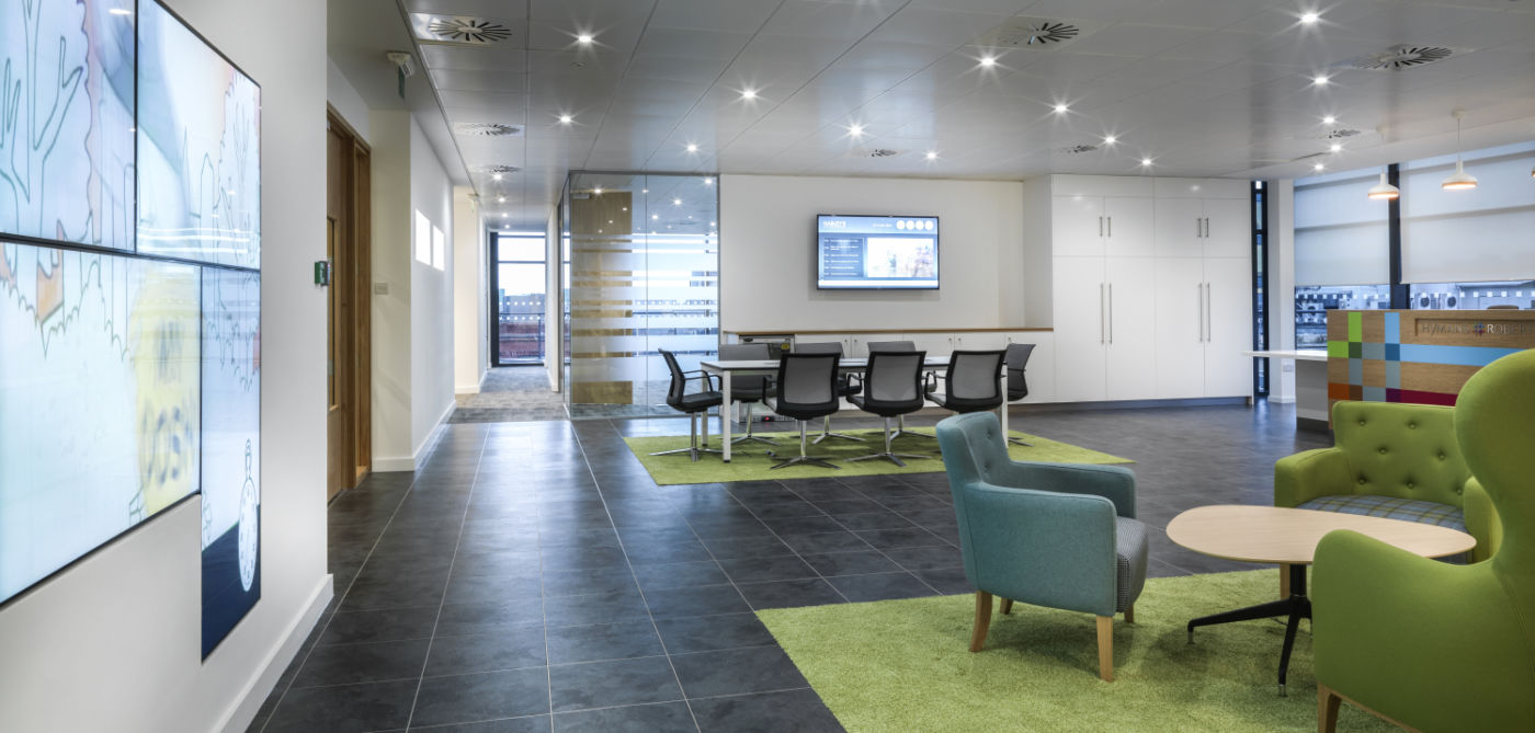 Large fit out of reception seating