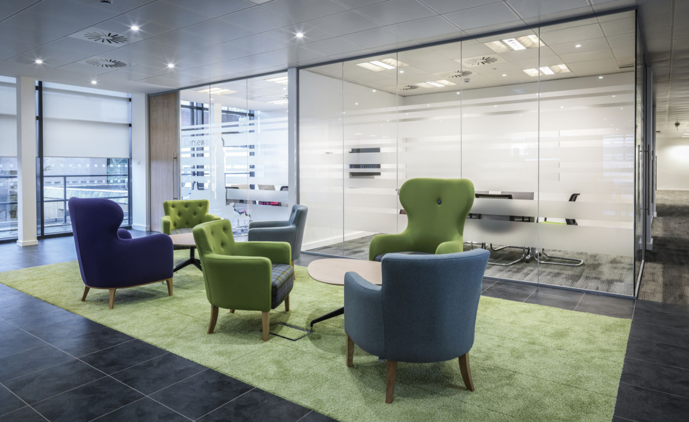 Informal colourful staff seating