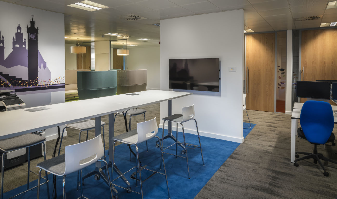 High tables in modern fit out