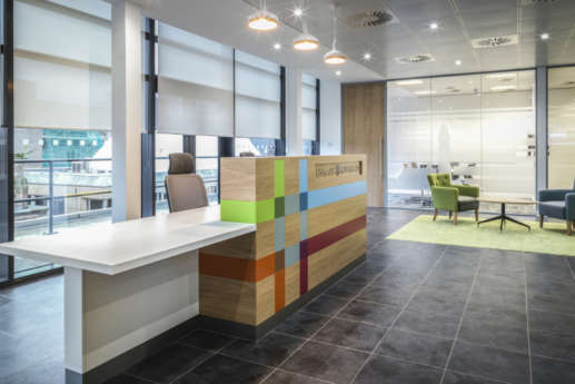 Reception area in office design