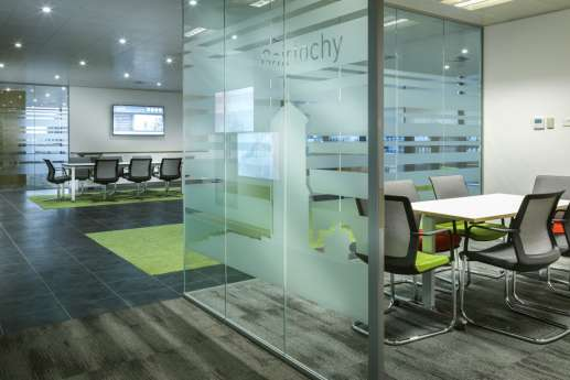 Meeting room with glass screen