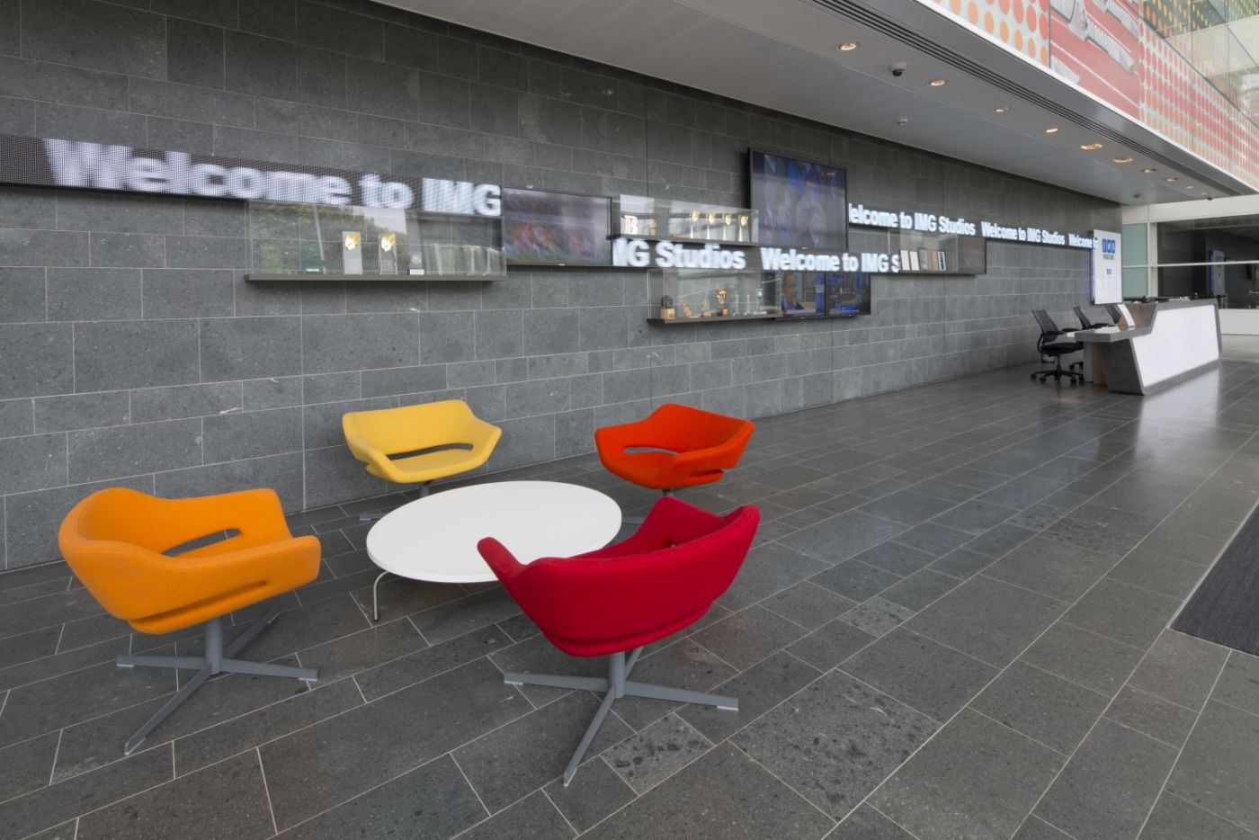 Bright chairs in client seating area