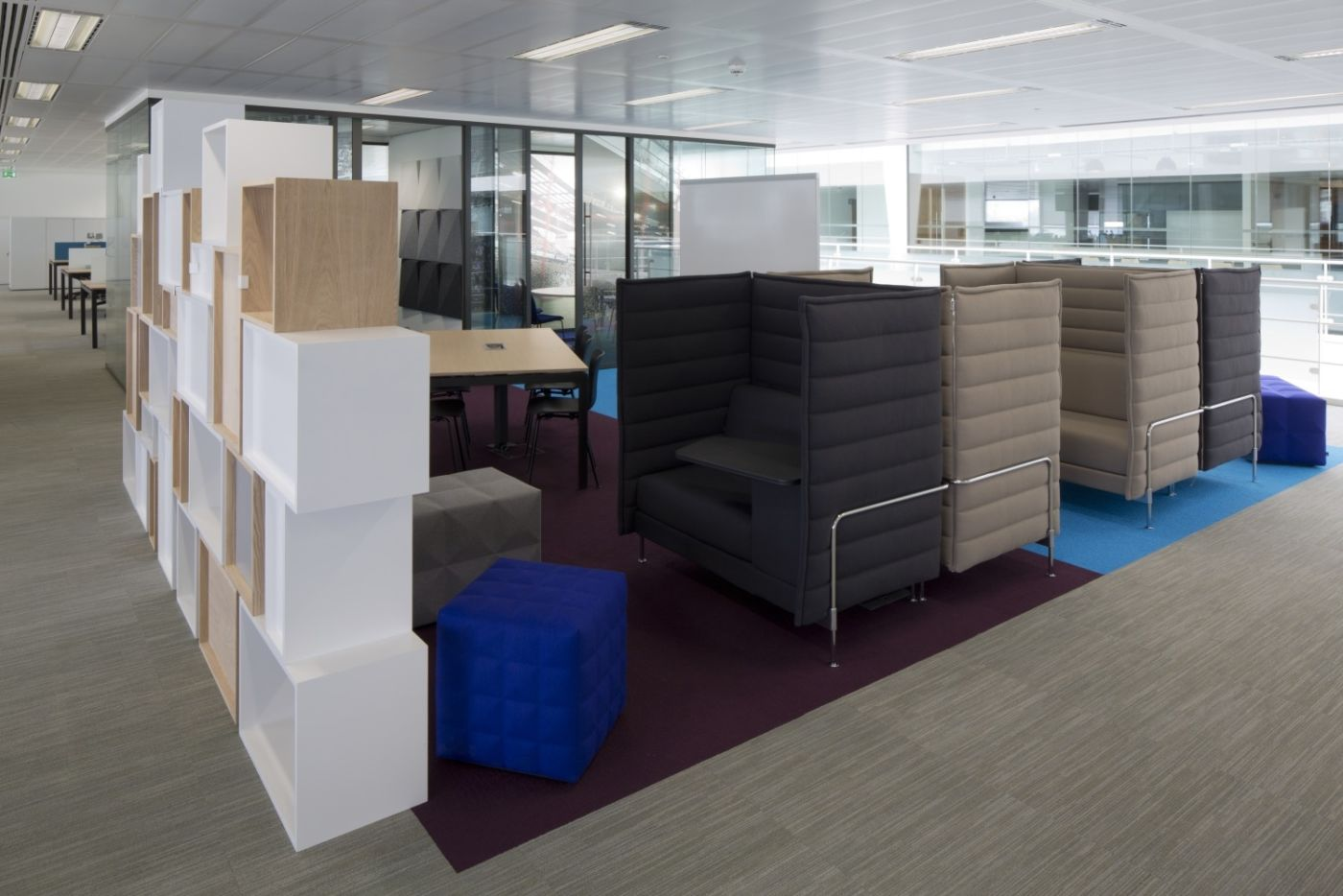 High backed booths in modern office design