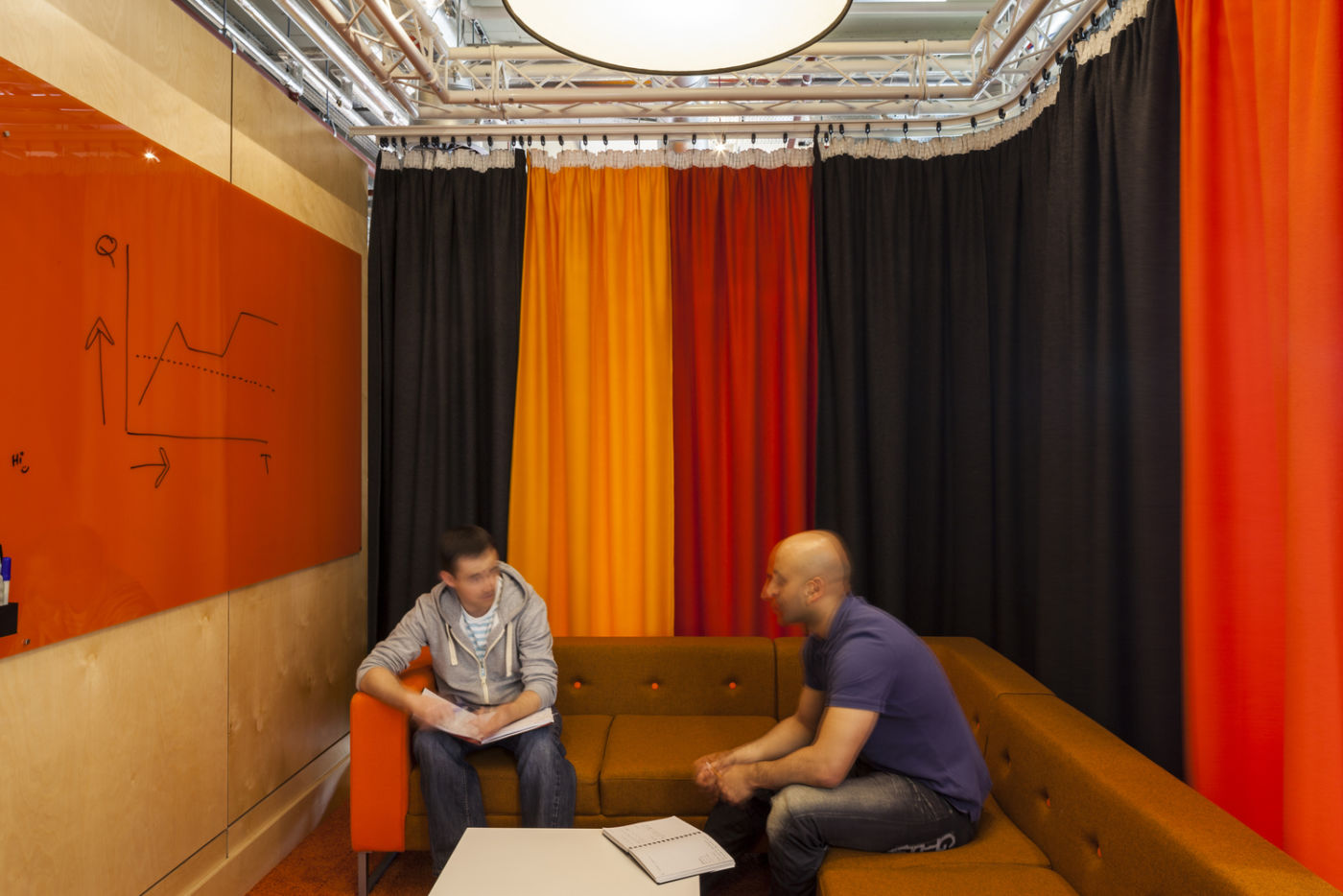 Meeting room with drapes and writable walls