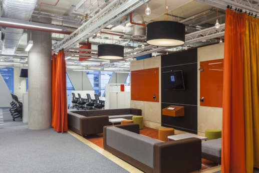 Staff breakout and meeting area in modern fit out