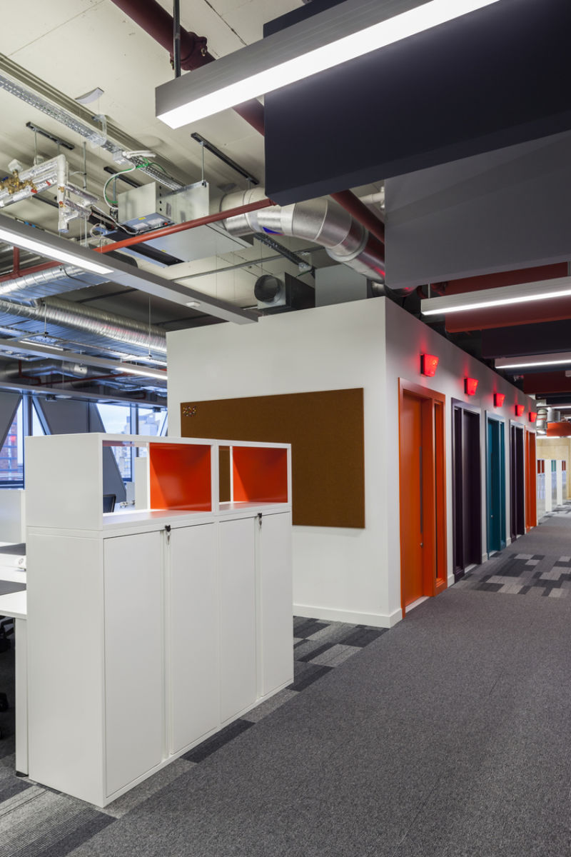Colourful lift area in modern office fit out
