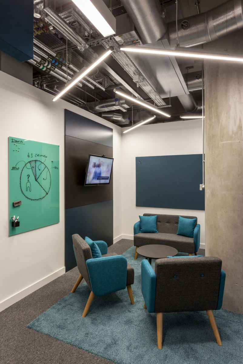 Modern office with cosy meeting rooms with writable walls