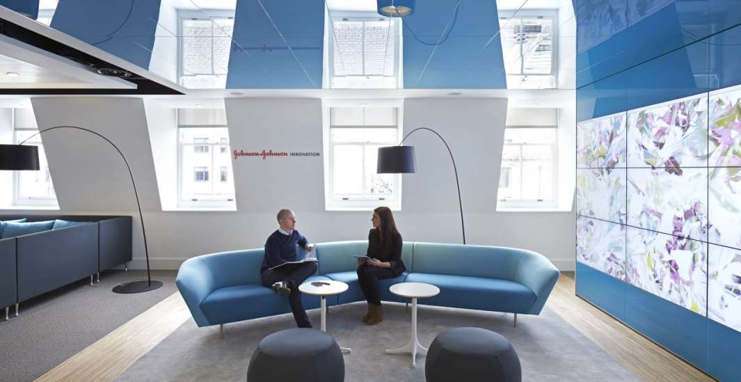 Seating area in blue office design
