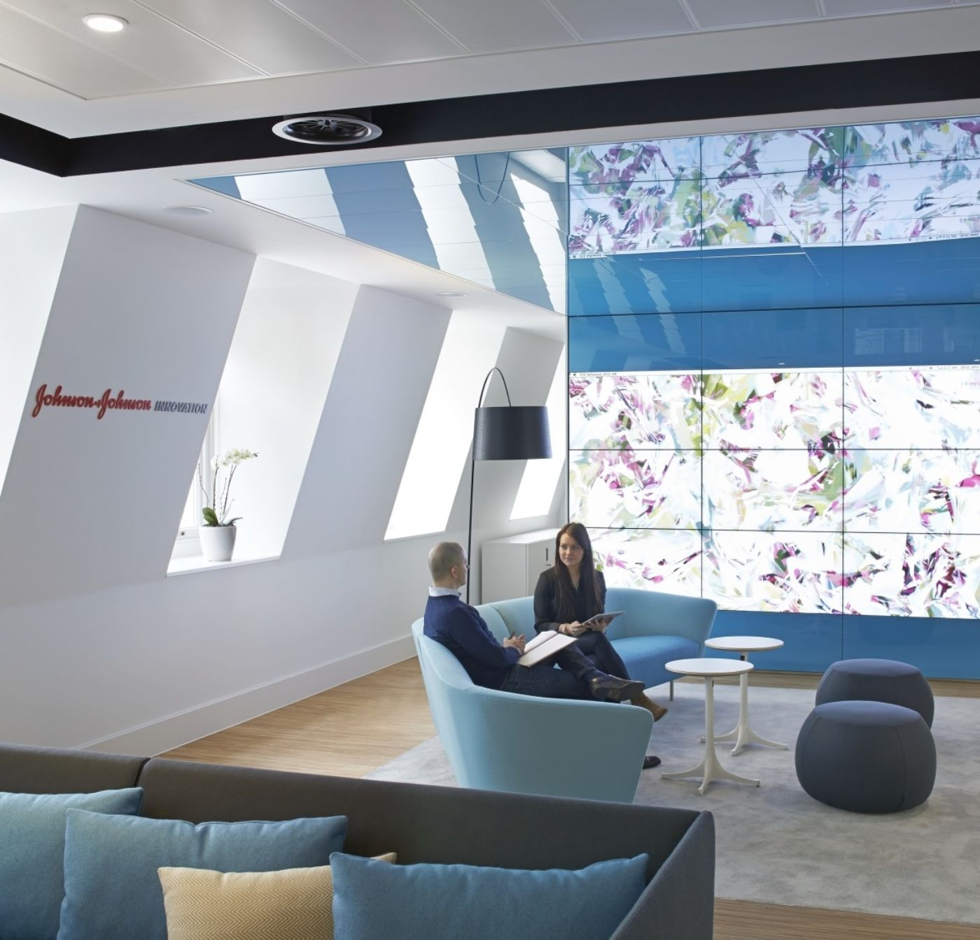 People sitting in reception area