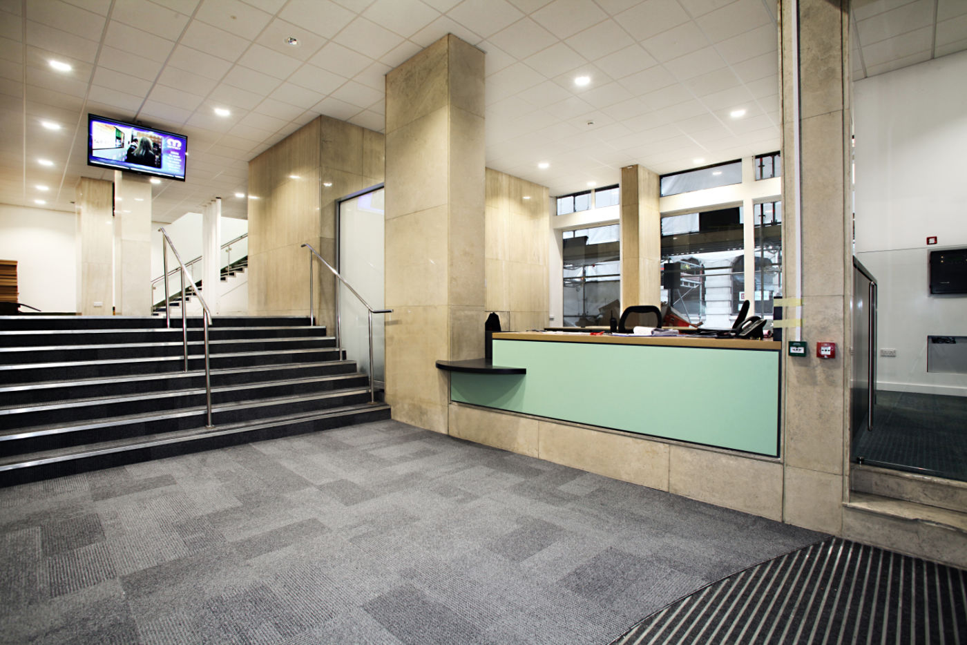 Small staircase in office reception