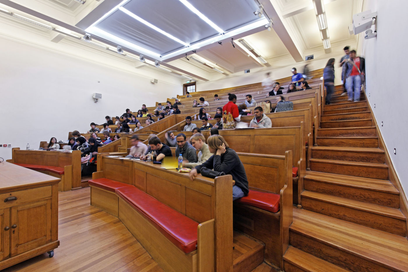 Students working in lecture theatre