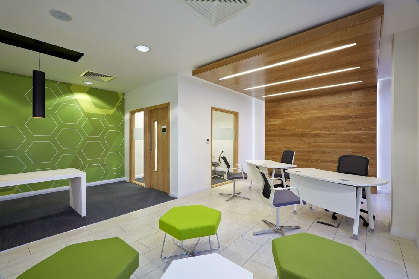 Seating area in designer office reception area