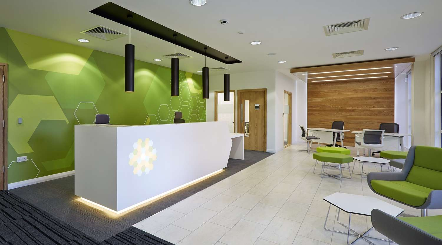 Reception area with green wall