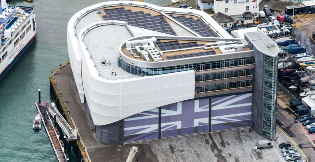 Aerial view of the Land Rover office with large, purple union jack