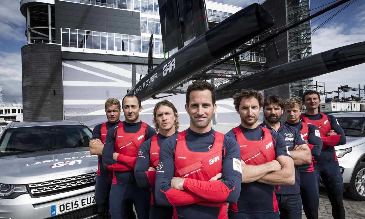 The Land Rover BAR team outside their office