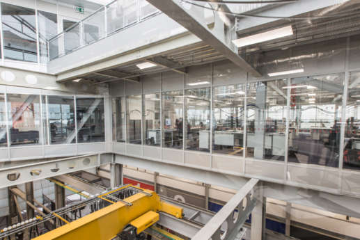 Industrial office mezzanine showing structural building support