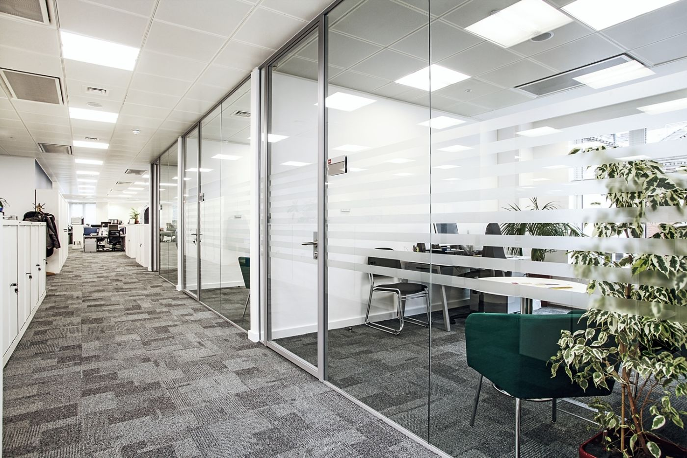 Individual office behind glass room fit out