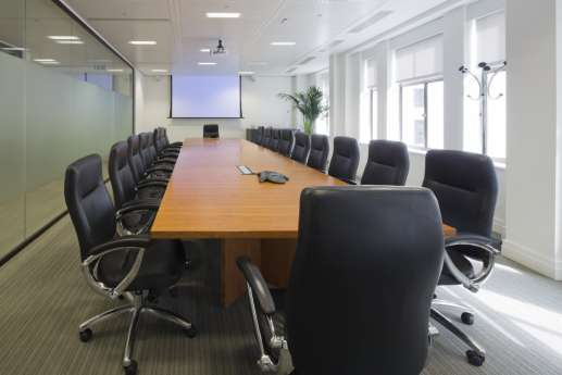 View of long table in meeting room