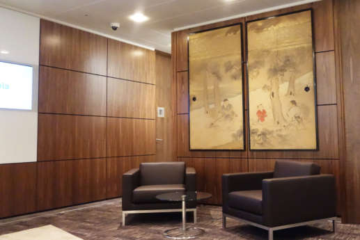 Wooden panels in reception seating area