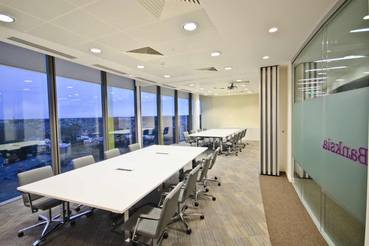 Modern office boardroom with views over cambridge