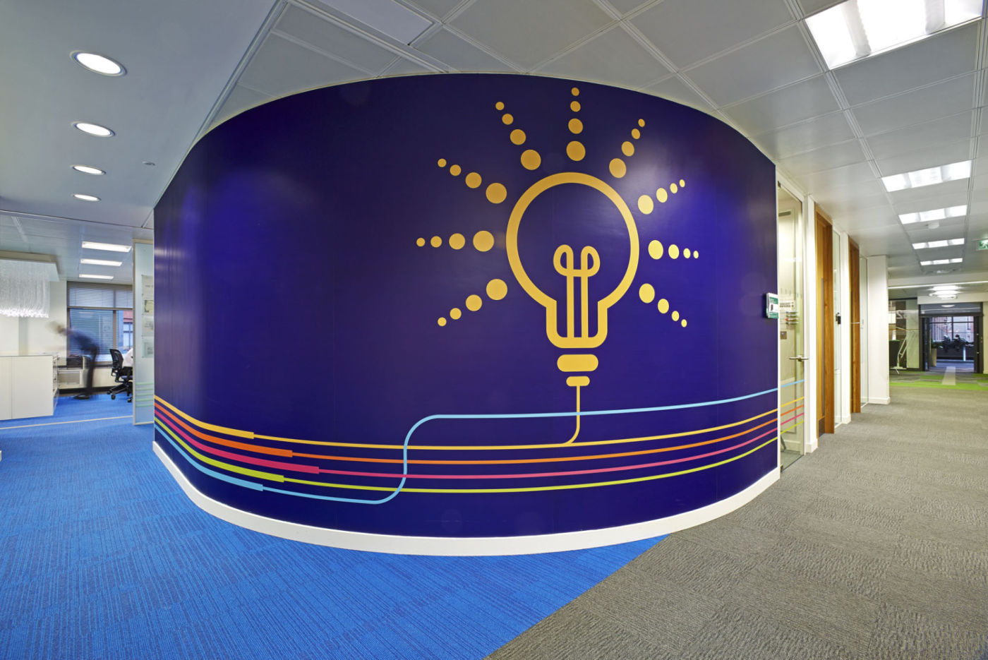 Wall graphic showing light-bulb thought idea