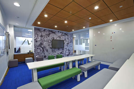 Training room with TV and wallpaper in modern Warwick office